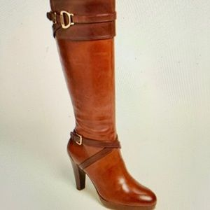 Cole Haan Nike Air Poppy Riding Boots Chestnut 7.5